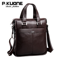 New 2014 P.kuone man bag brand handbag business casual genuine leather bags cowhide leather briefcase vintage men messenger bags