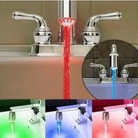 Temperature Sensor 3 Color Glow Shower LED Light Water Faucet Tap1 pcs/lot