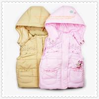 Girls' Cute Mouse Cartoon Vest Children's Cotton-padded Waistcoat Zhilet Zhiletka 9008 Sunlun Russian Support Free Shipping 2014