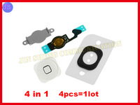 20sets/lot for iPhone 5 4 in1 Home Button+Home Key Flex+Metal + Plastic Sticker Black and White Color Repair Replace Spair Parts