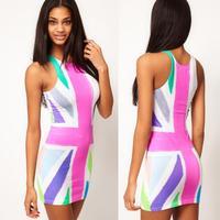 Free Shipping 2013 new fashion women's bodycon bandage mini dress sexy sleeveless mini dresses flag pattern skirt