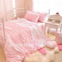 Free shipping! Korean princess cute little bow textile Family of four bedding set full size duvet covers / Pillowcase
