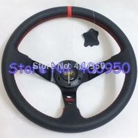 "14"" OMP Leather Steering Wheel Deep Dish Racing Drifting Car Steering Wheel Leather"
