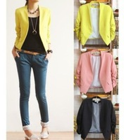 2014 NEW Chic Basic Solid Color Fashion Women 3/4 Sleeve Pockets None Button Woman Slim Short Suit Jacket