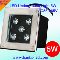 2013 Newest Arrival Wholesale! 5W Square Underground Light IP67 AC85-265V 2 Years Warranty,20PCS/Lot Free Shipping