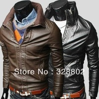 2013 Autumn and winter New products Fashion motorbike jacket More zip leather Water motorcycle leather high quality