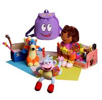 2013 new plush toys Dora doll cloth monkey fox Swiper bear full set kids bags girls backpack Free shipping