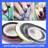 30pcs Hot Selling Multicolor Roll Striping Tape Line DIY Nail Art Decoration Nails Sticker  -- NLP09 Free Shipping