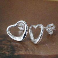 925 Silver Earring Fashion Jewelry Free Shipping Warm Heart STL Silver Earrings E099