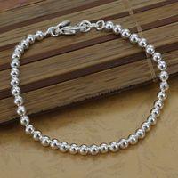 Free Shipping Wholesale 925 silver bracelet, 925 silver fashion jewelry 4mm Bean Bracelet H198