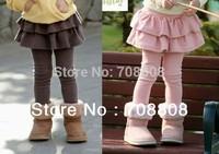 New 2014 Retail  Girls' Leggings Winter Children's Skirt Dress Kids Girls Skirt-pants Cake skirt Baby Pants ruffle leggings