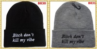 FREE SHIPPING Bitch Don't Kill My Vibe BEANIE WOOLLY HAT RITA ORA UNISEX 2 colors BLACK GREY cheap