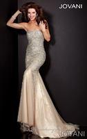 Designer Sheath Tulle Crystals Champagne Prom Dresses(EVFA-1035)