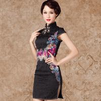 Limit sell Oriental nobility 2013 cheongsam fashion summer short-sleeve black vintage slim cheongsam dress  Send full