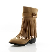 2013 spring and autumn new arrival buckle women tassel boots nubuck leather women warm boots