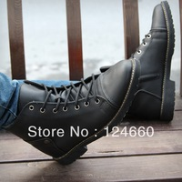The trend of casual high-top shoes zipper male lacing boots british style men's boots