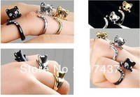 1pc  Free shipping!!  Rhinestones Real gold and rhodium plating Cat ring With Fine Box