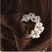 Free shipping,Min order 15$ (Mixed order) Fashion Luxury Crystal Love Peach Heart Flower Petal Pearl U Shape Hair Comb Headwear