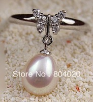 New Elegant natural pearl rings with silver butterfly rhinestone waterdrop 9-10mm freshwater pearl Free to adjust Best gifts