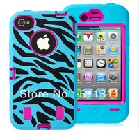 Colorful Hybird PC +Silicone Teal ,Pink ,Purple Combo Zebra Case Cover for iPhone 4/4S, 100pcs/lot free shipping by DHL