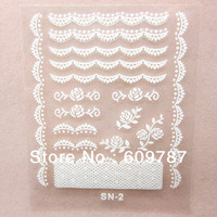 Free shipping100pcs/lot  3D Lace Nail Art Stickers Beautiful /Nail Art Lace Sticker Decals