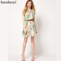 free shipping 2013 new fashion elegant floral vintage mini dress elegant chiffon short skirt sexy kneelength dresses
