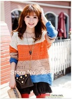 Free Shipping  women's striped color block decoration knitted sweater