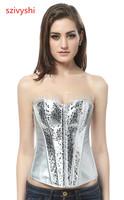 Free Shipping! Shiny silver stone pattern corset A3252