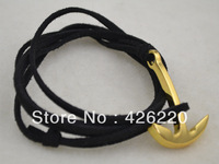 free shipping 5pcs a lot high quality black color parachute cord golden anchor bracelet  jewelry