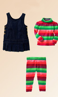 2014 New Style Kids Autumn And Winter Striped Clothing Suit 3 Pcs Cat And Top And Pants Girls ClothesCS20716-76^^EI