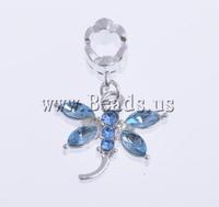 Free shipping!!!European Style Zinc Alloy Pendants,2013 new, Dragonfly, with rhinestone, light blue, nickel