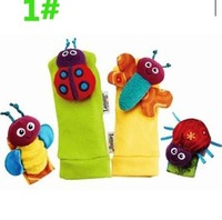 Free shipping baby rattle baby toys Lamaze Garden Bug Wrist Rattle and Foot Socks 4 pcs/lot, 3styles option  k23
