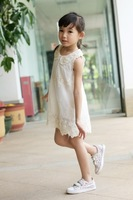 Free shipping 2013 girls Lace White one-piece Dress Kids Summer chiffon lace pearl collar sleeveless princess birthday dress