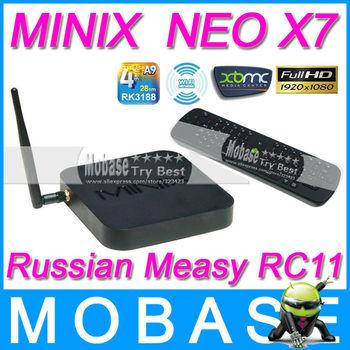 [Russian RC11 Air Mouse]MINIX NEO X7 Android TV Box Quad Core Mini PC 1.6GHz 2G/16G WiFi HDMI USB RJ45 OTG Optical XBMC Smart TV