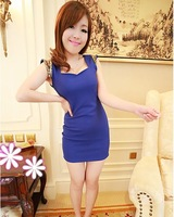 2013 slim racerback paillette shoulder pads sleeveless slim hip one-piece dress sexy evening dress