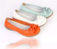 Free shipping 2013 Spring and autumn single shoes genuine leather bow women's shallow mouth shoes casual shoes nurse shoes