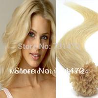 "Free Shipping18""20""22""#613Bleach Blonde   Hair Indian Pre Bonded Nail U Tip Keratin Glue100% Remy Soft Human Hair Extensions"
