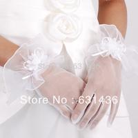 2014 Wedding Gloves Yarn Bride Gloves Wedding Accessories Short Design White Lace Gloves Bolsman Drop Shipping