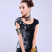 Dress New Fashion 2014 Summer Womens T Shirt  Women Plus Size Short Sleeve Print  Casual T Shirts Woman Tops &Tee BLOUSE