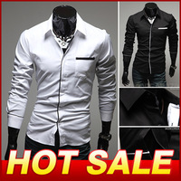Free Shipping 2013 Brand New style Design Mens Shirts High Quality Casual Slim Fit Stylish Dress Shirts 2 Colors Camisas Y121