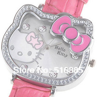 Fashion New jewellery hello kitty Silicone Quartz wrist watch Kid good quality Free shipping 5pcs
