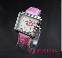 Fashion Hello Kitty Ladies Women's Girls Students Square Quartz Wrist Watches, Free & Drop Shipping 25pcs/lot