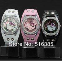 Retail Hello Kitty watches women Quartz watch Shiny PU Strap watch Lovely style 5pcs/lot