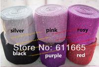 fashion plastic mesh 24 rows decorative rhinestone fabric trim CPAM free 4yards/roll shiny plastic mesh fabric trimming