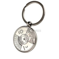 Mini Perpetual Calendar Keychain Ring Unique Metal Keyring 50 Years hv3n