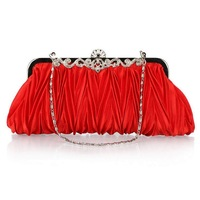 Hot sale fashion women's all match pleated evening bags gorgeous bridal handbag day clutch for lady MF011 Free shipping