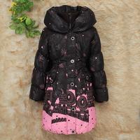 Free shipping retail children's clothing down coat long design b09