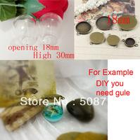 Free shipping >> 30mm arch Glass Globe Pendant Locket Charm opening 18mm +bronze pendant base