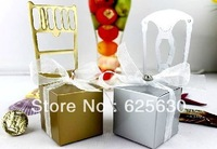 2013 Free shipping 100 pcs/lot Golden Silvery Chair Wedding Favors Candy Box ,Place Card Holder(with Ribbon Heart and name card)