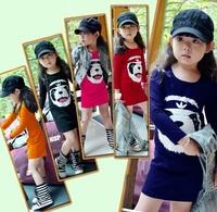 Free shipping 5pcs/lot Kids Girls Dress girls princess dress kids cotton printed panda dresses Autumn kids clothes wholesale